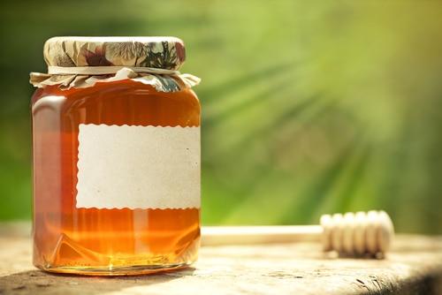 Etikett på honungsburk